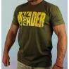 T-shirt w kolorze khaki z nadrukiem logo wkomponowanym w napis INVADER na przodzie oraz z logo z tyłu koszulki.