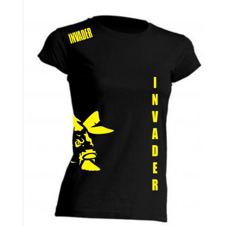 T-shirt czarny, damski z żółtymi nadrukami loga i nazwy firmy (przód i tył)