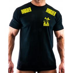 T-shirt czarny z nadrukiem logo INVADER na przodzie,z tyłu, pagonach, oraz rękawie
