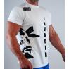 T-shirt biały z czarnymi nadrukami loga i nazwy firmy (przód i tył)
